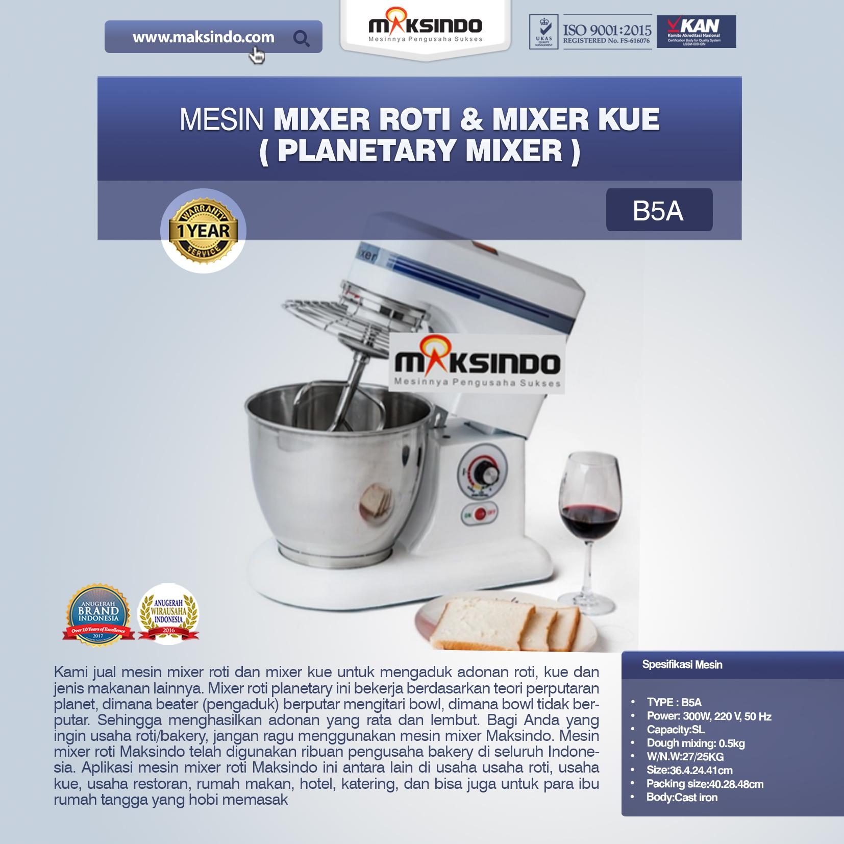 Jual Mesin Mixer Roti Planetary di Denpasar, Bali