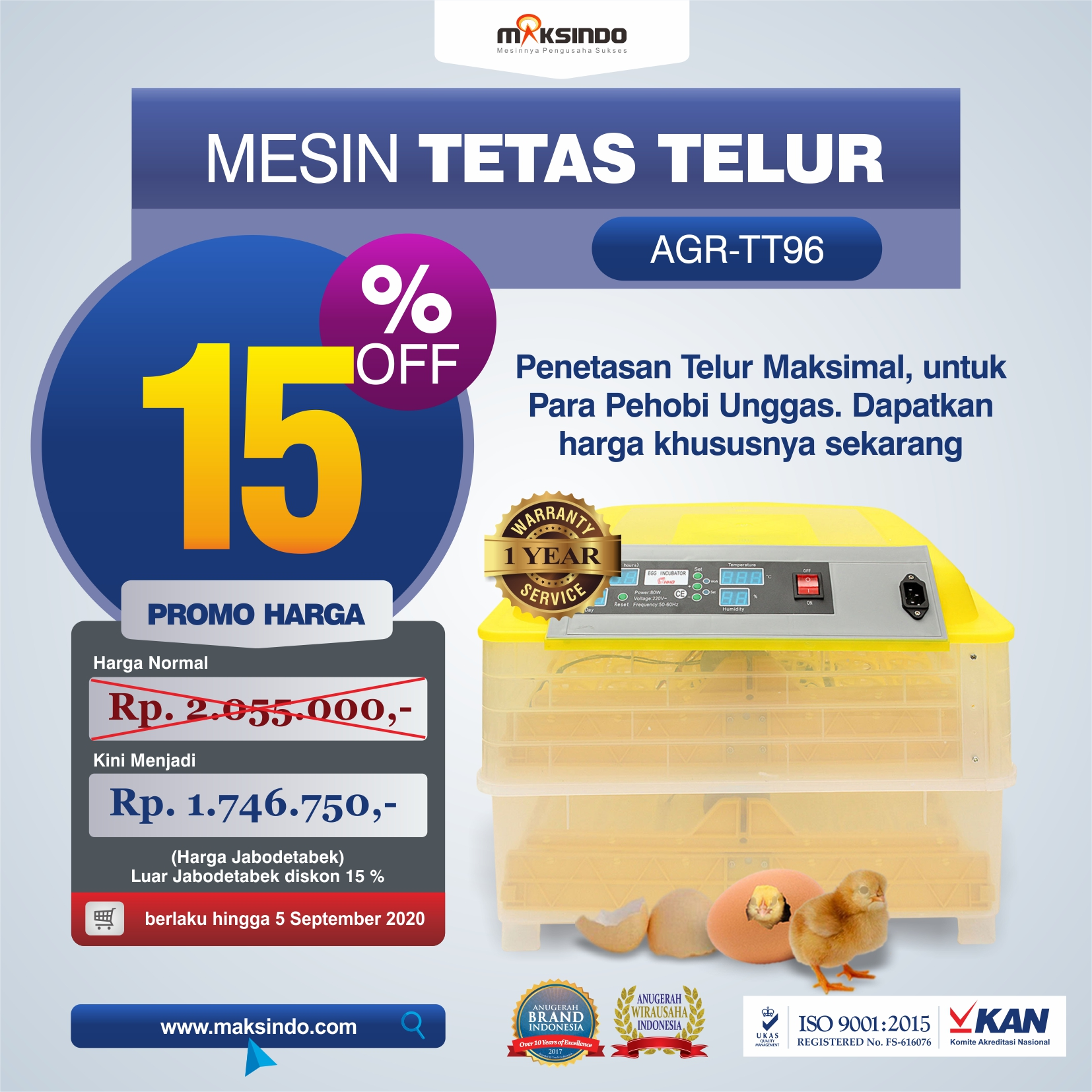 Jual Mesin Penetas Telur 96 Butir Otomatis – AGR-TT96 di Bali