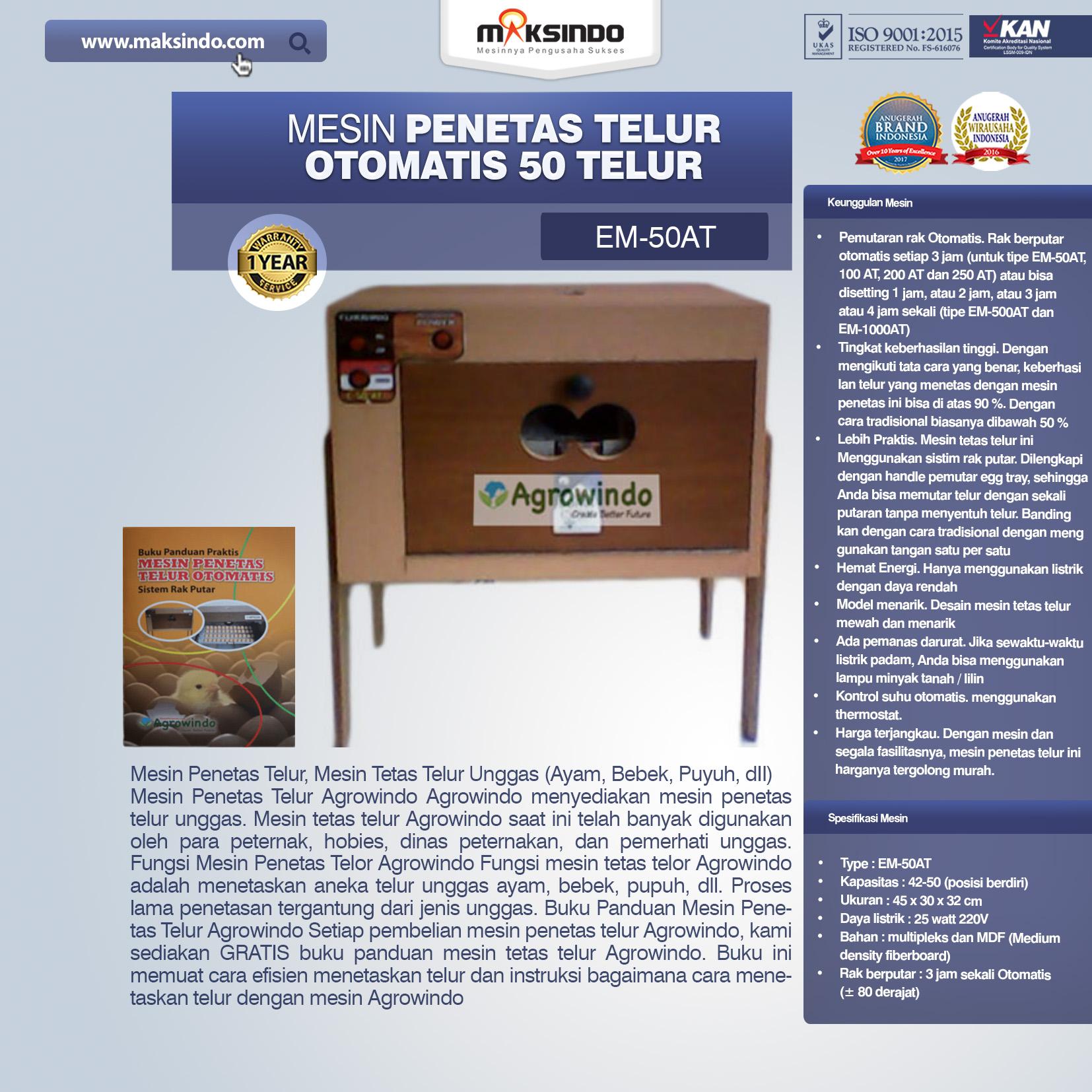 Jual Mesin Penetas Telur Otomatis 50 Telur (EM-50AT) di Bali
