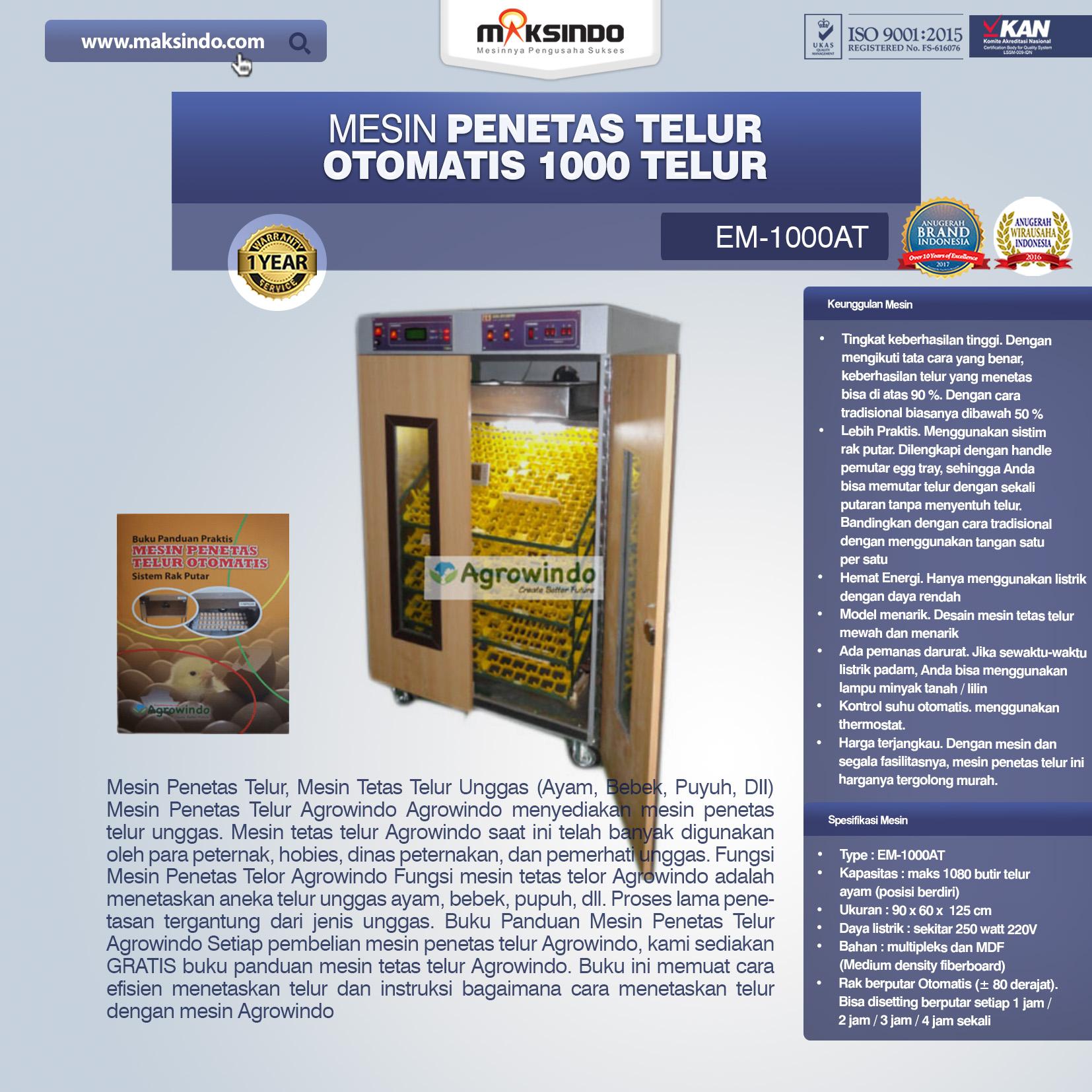 Jual Mesin Penetas Telur Otomatis 100 Telur (EM-100AT) di Bali