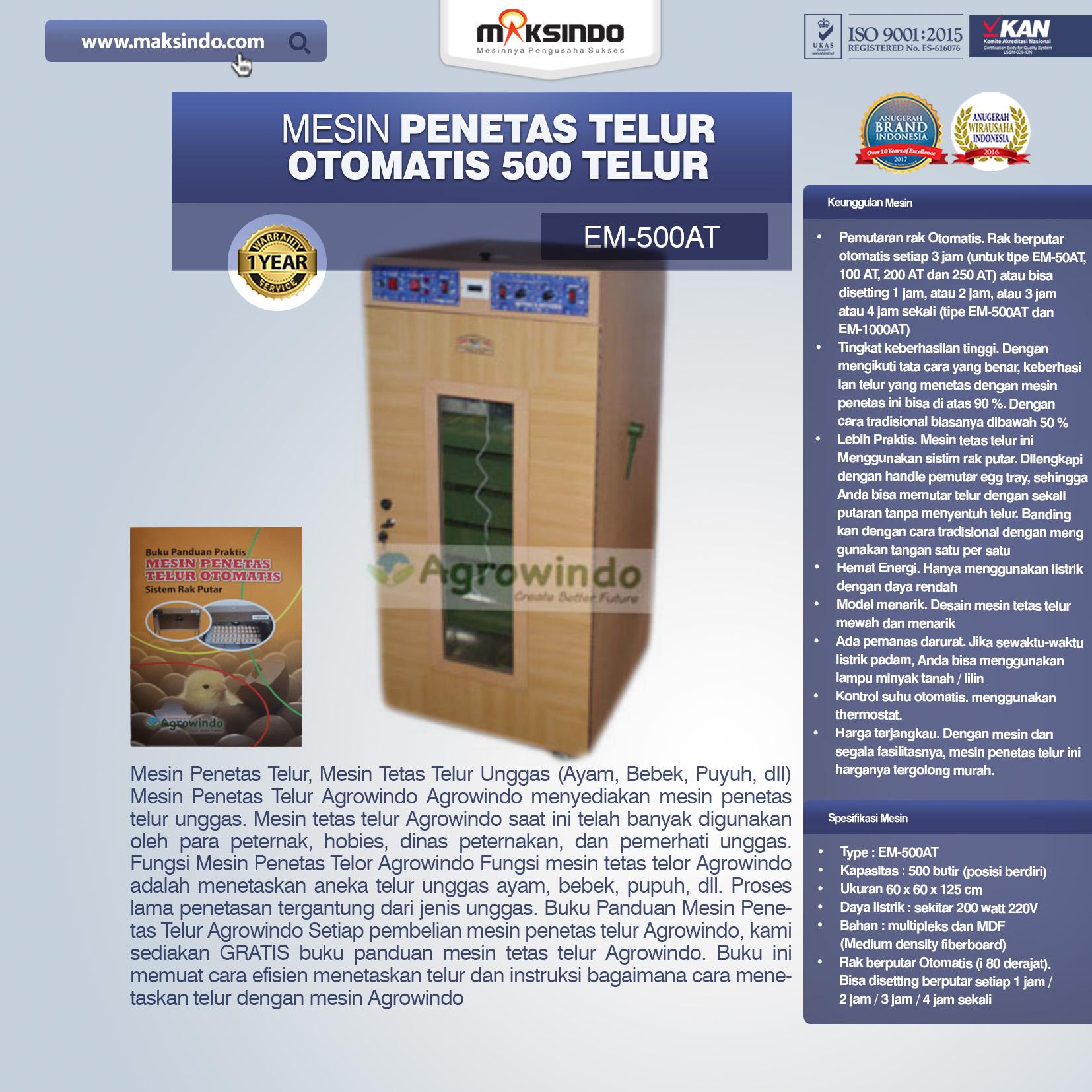 Jual Mesin Penetas Telur Otomatis 500 Telur (EM-500AT) di Bali