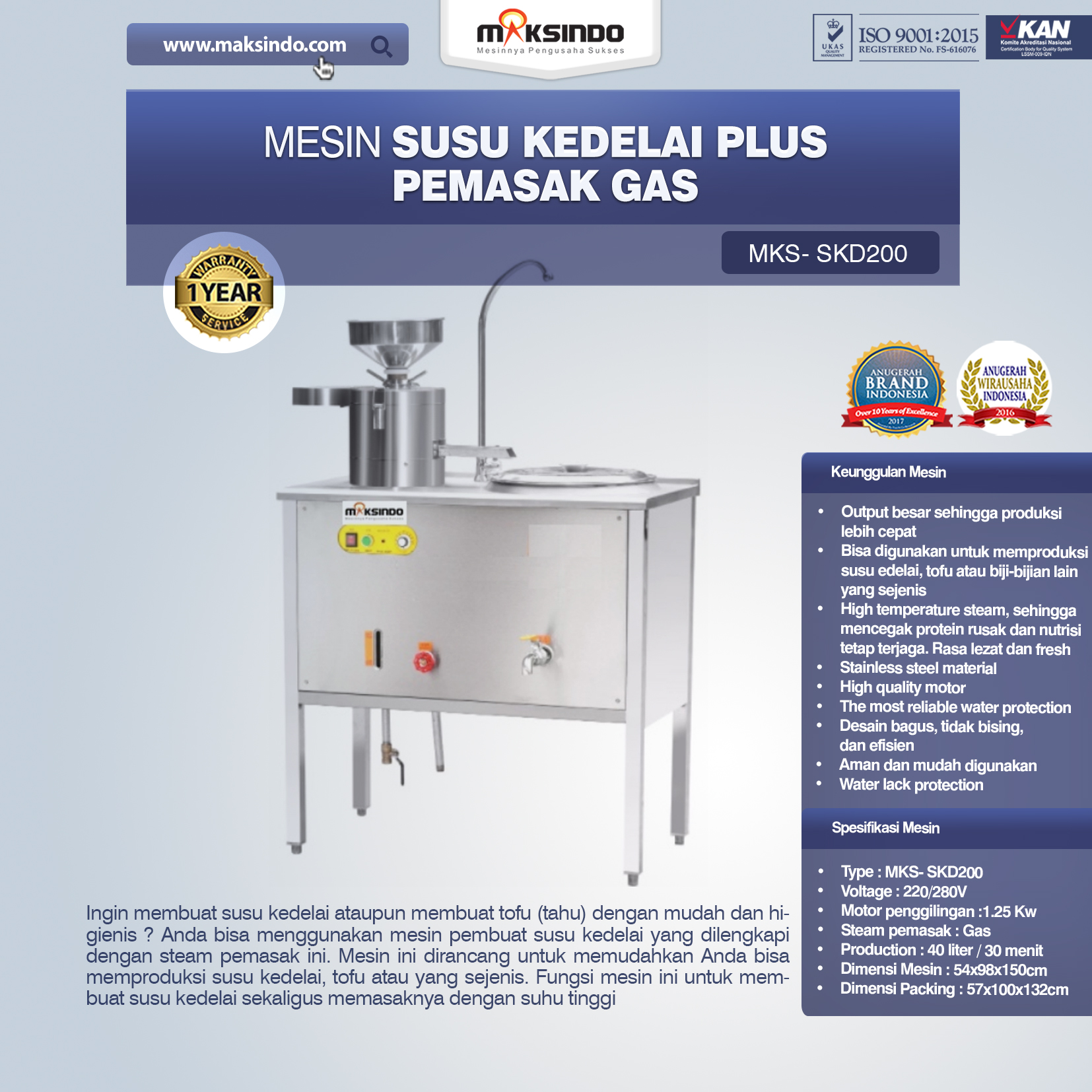 Jual Mesin Susu Kedelai Plus Pemasak Gas (SKD200) di Bali