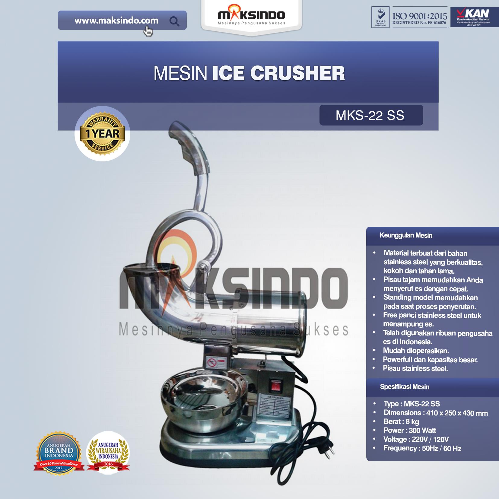 Jual Mesin Ice Crusher (MKS-22SS) di Bali