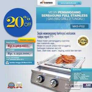 Jual Pemanggang Serbaguna Stainless Stel – Gas BBQ Grill 2 Tungku di Bali