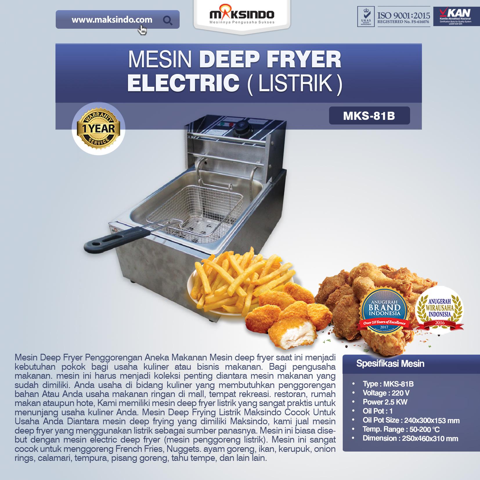 Jual  Mesin Deep Fryer Listrik MKS-81B  di Bali