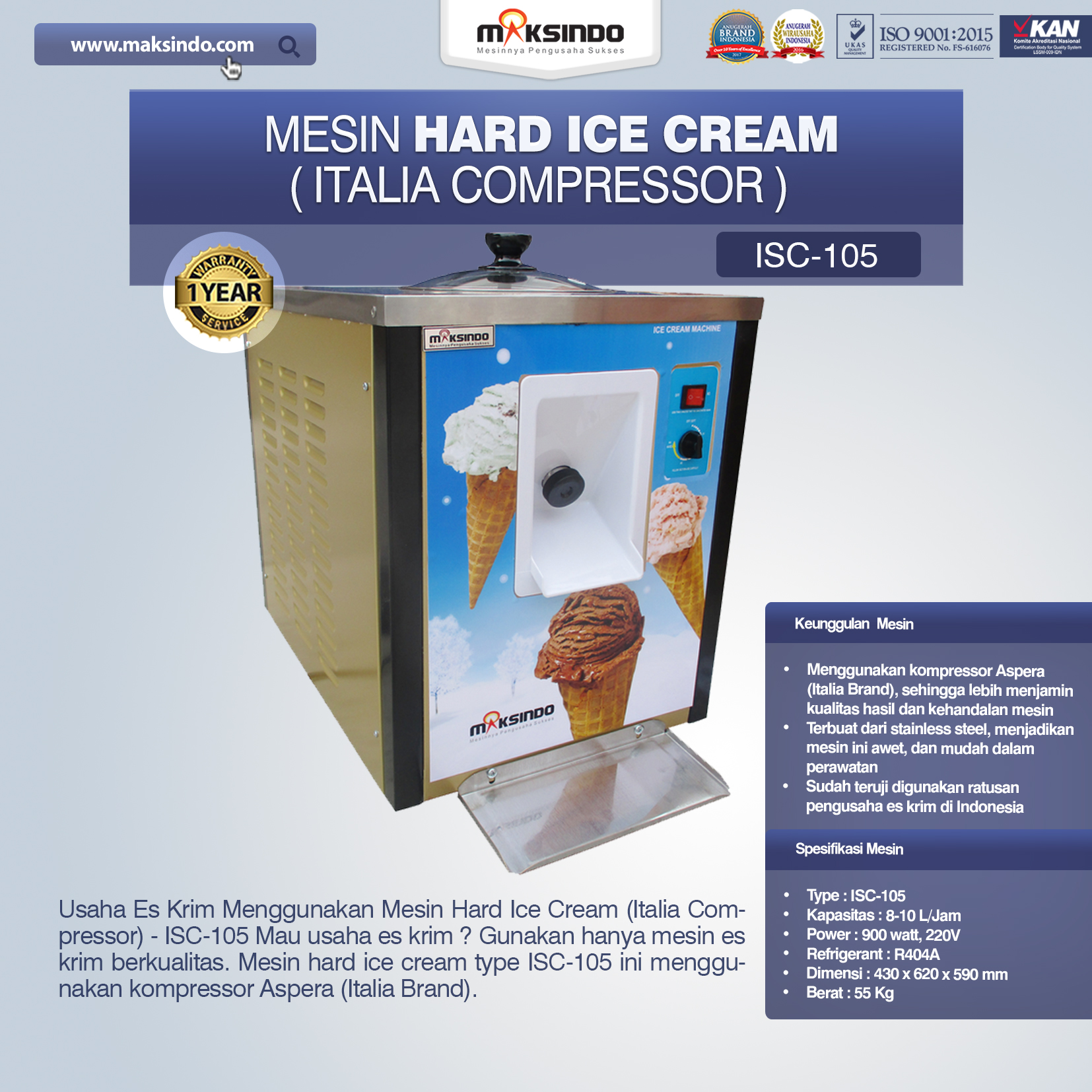 jual Mesin Hard Ice Cream (Italia Compressor) – ISC-105 di Bali