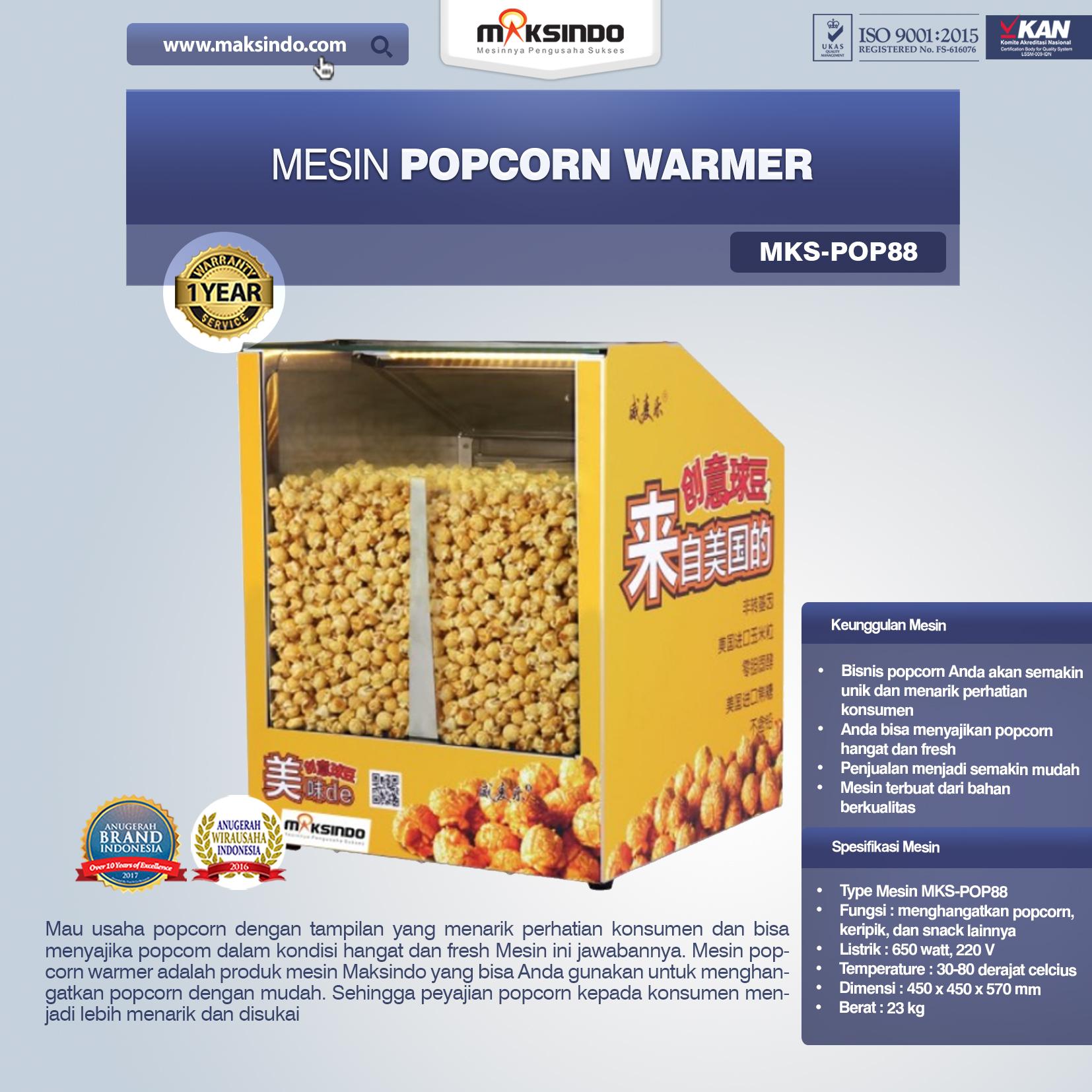 Jual Mesin Popcorn Warmer (POP88) di Bali