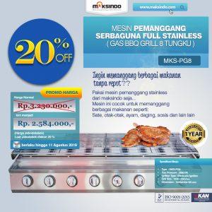 Jual Pemanggang Serbaguna Stainless Steel  – Gas BBQ Grill 8 Tungku di Bali