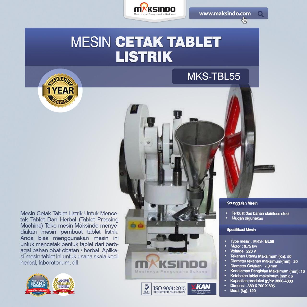 Jual Mesin Cetak Tablet Listrik – TBL55 di Bali