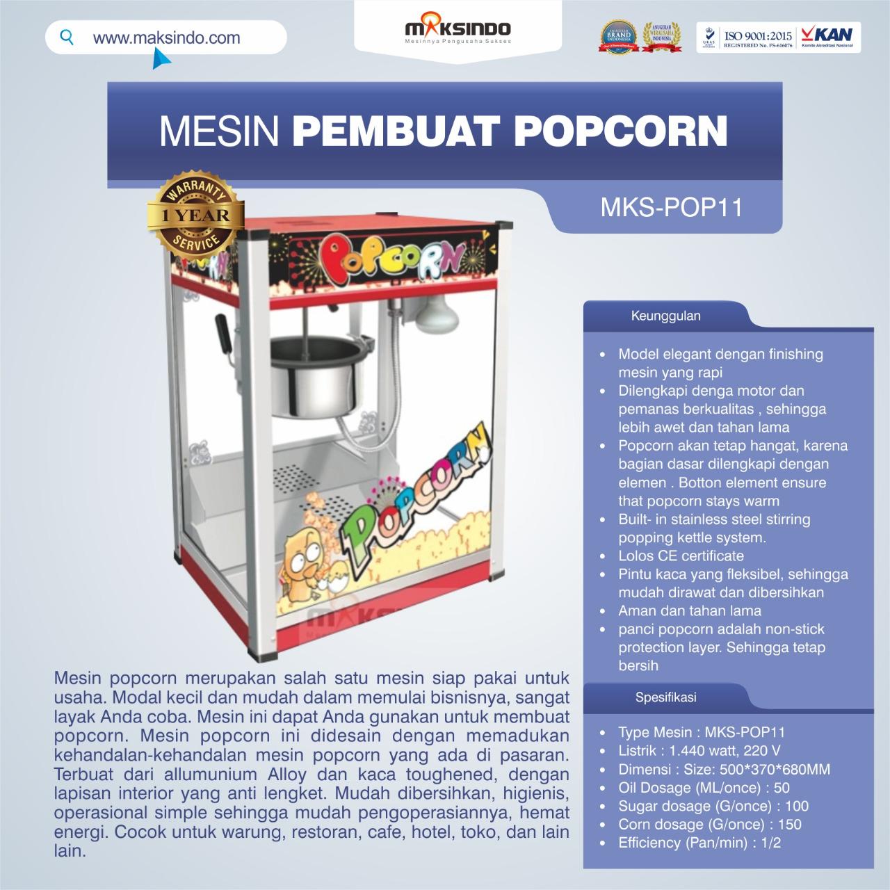 Jual Mesin Pembuat Popcorn (POP11) di Bali