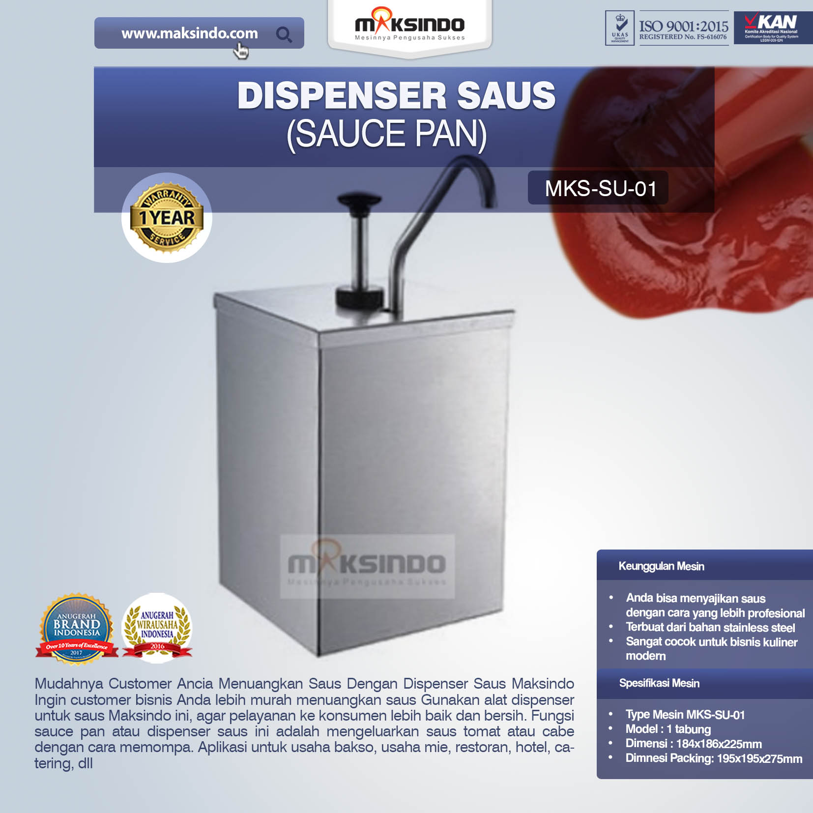 Jual Dispenser Saus (Sauce Pan) SU-01 di Bali