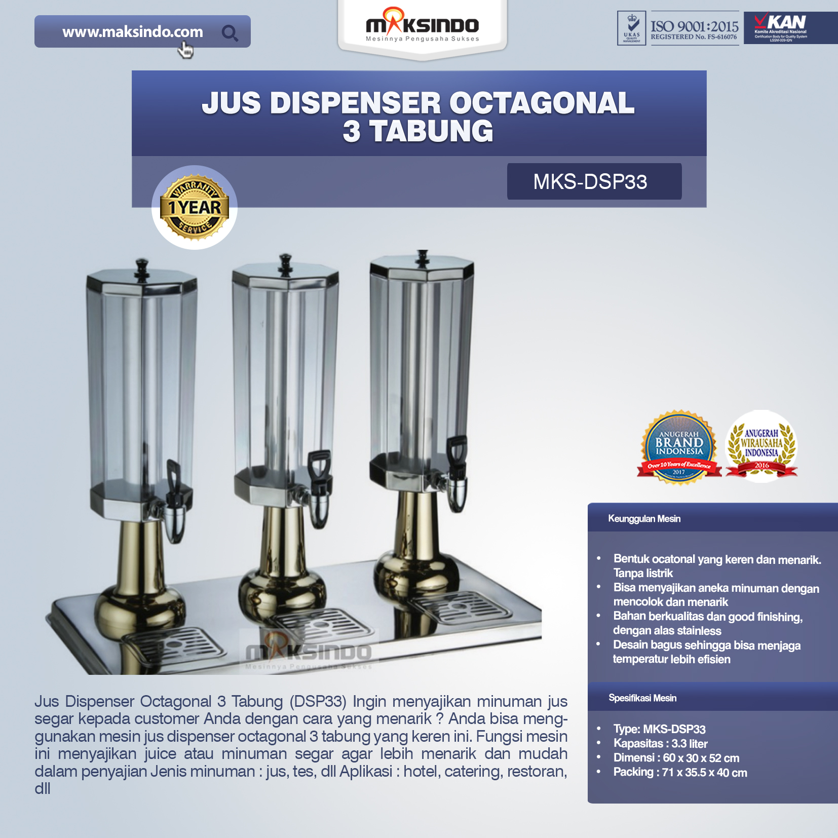 Jual Jus Dispenser Octagonal 3 Tabung (DSP33) di Bali