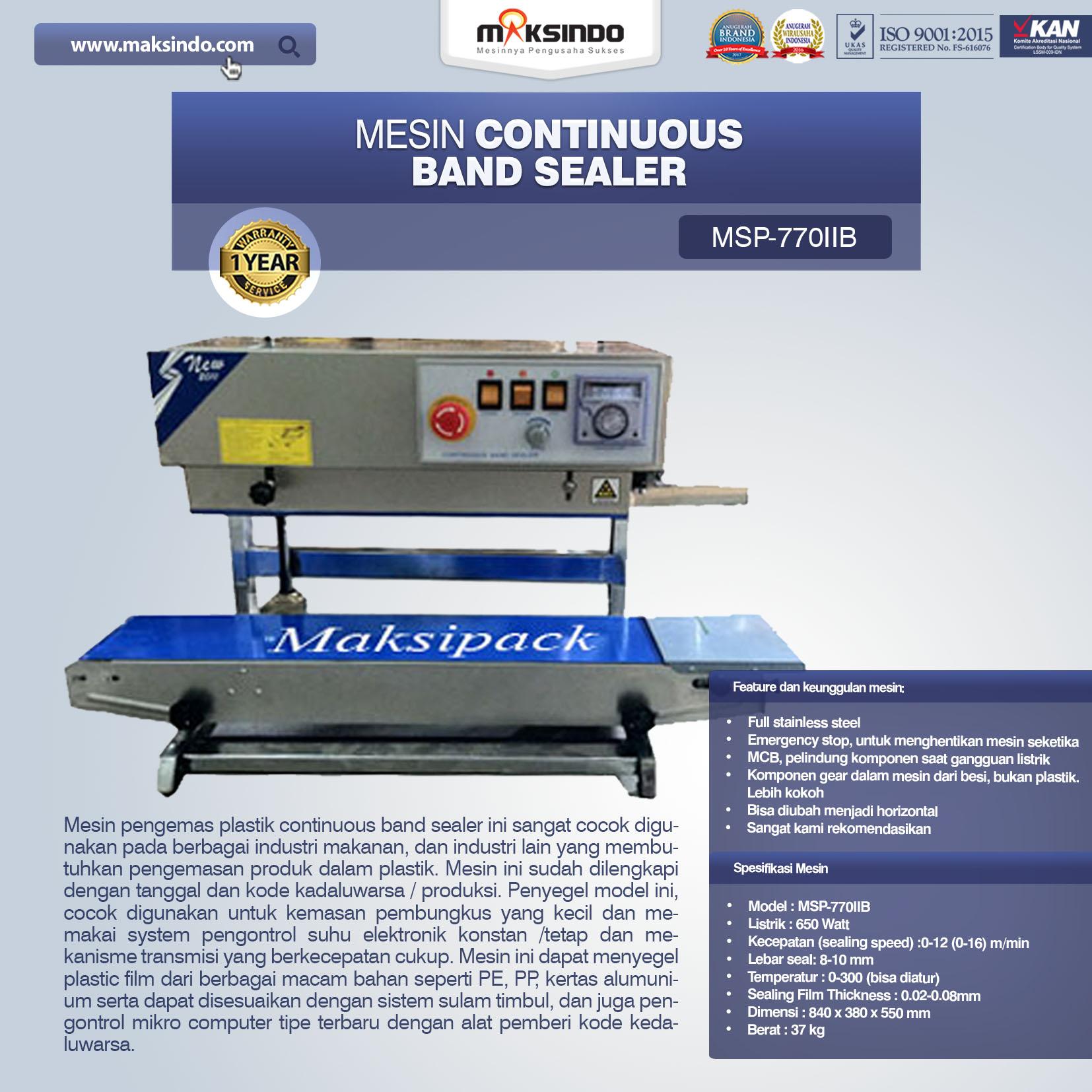 Jual Mesin Continuous Band Sealer MSP-770IIB di Bali