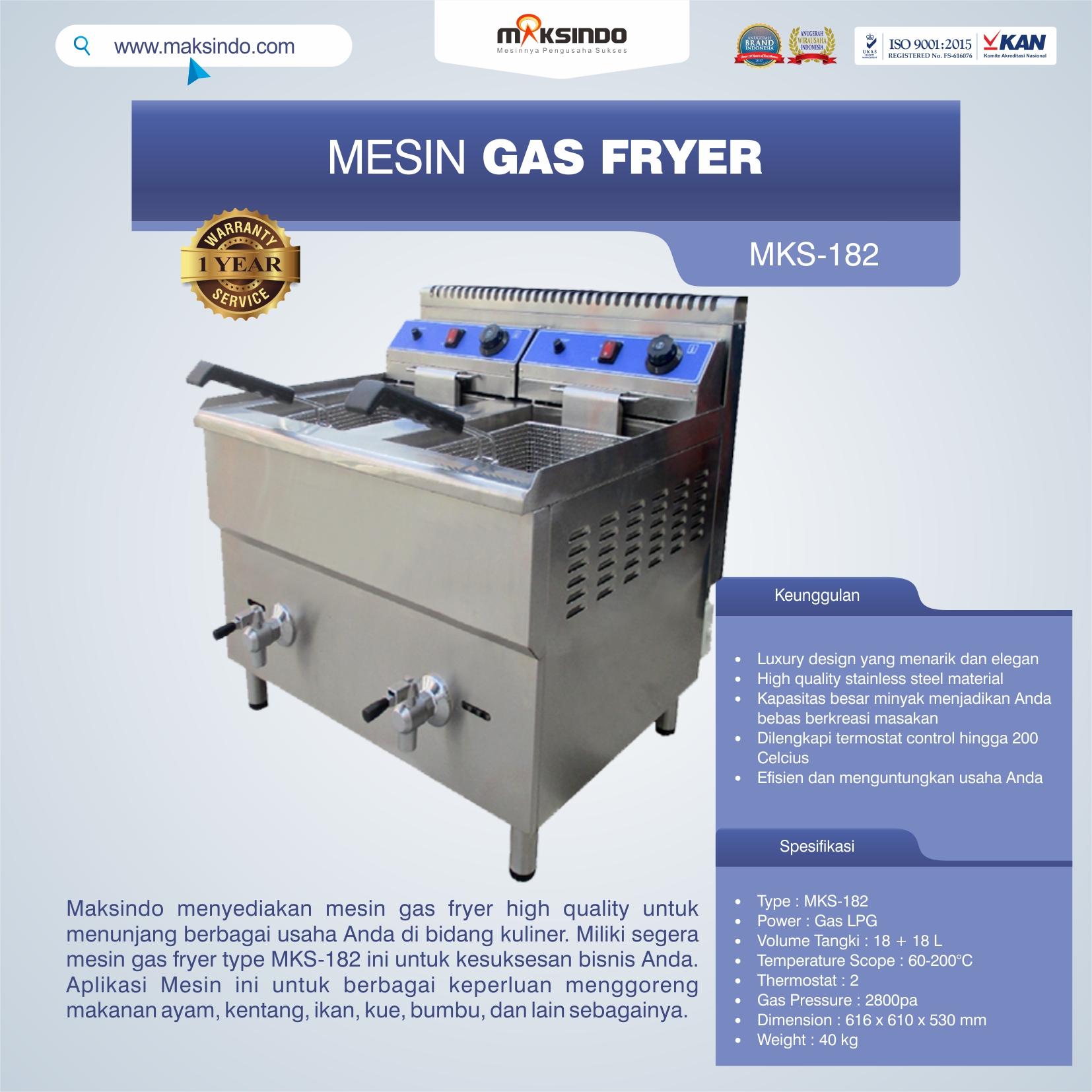 Jual Mesin Gas Fryer (MKS-182) di Bali