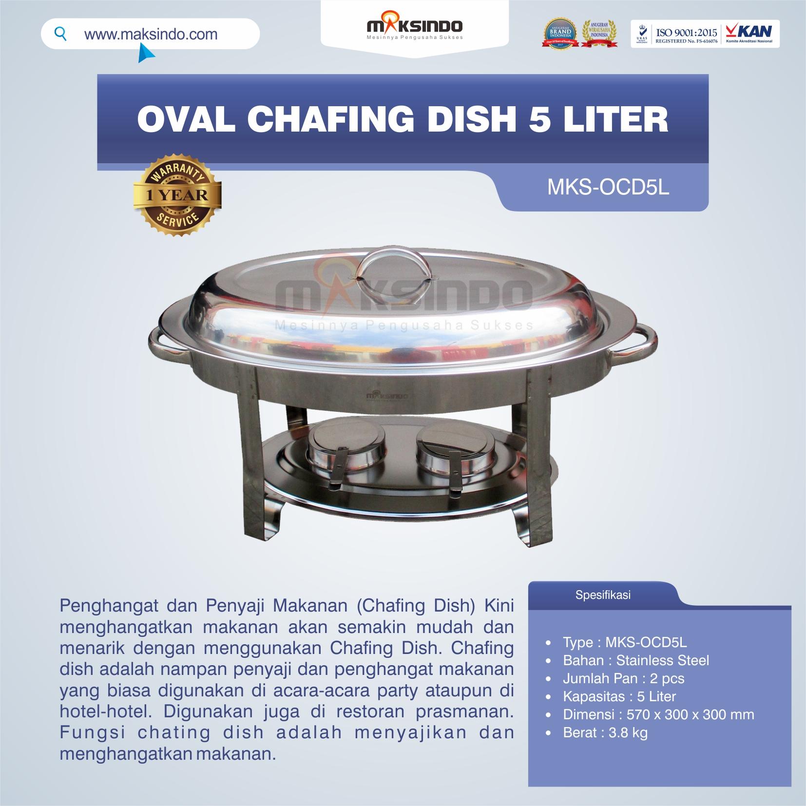 Jual Oval Chafing Dish 5 Liter di Bali