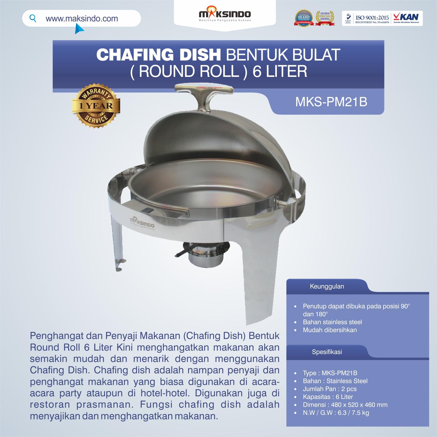 Jual Chafing Dish Bentuk Bulat (Round Roll) 6 Liter di Bali