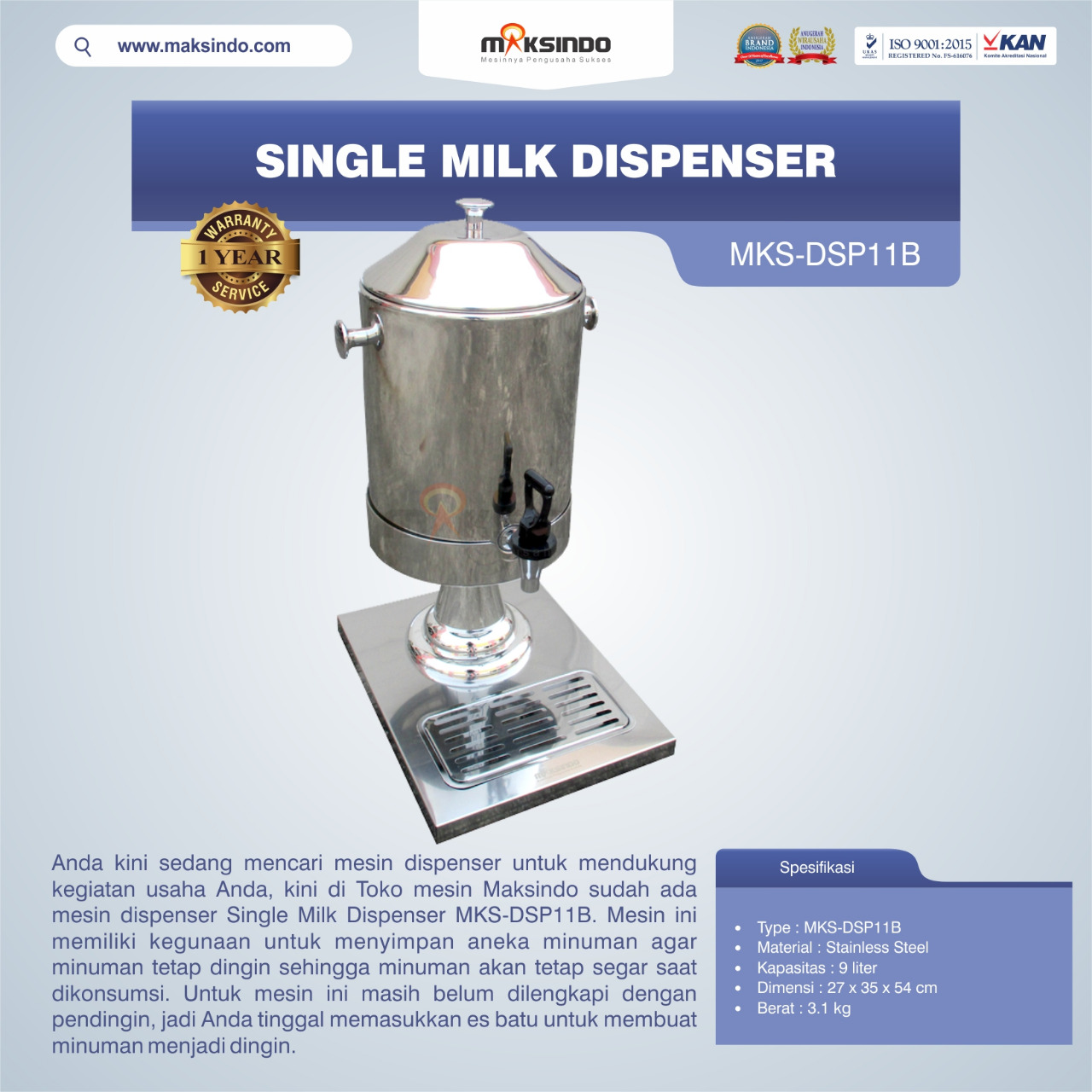 Jual Single Milk Dispenser MKS-DSP11B di Bali
