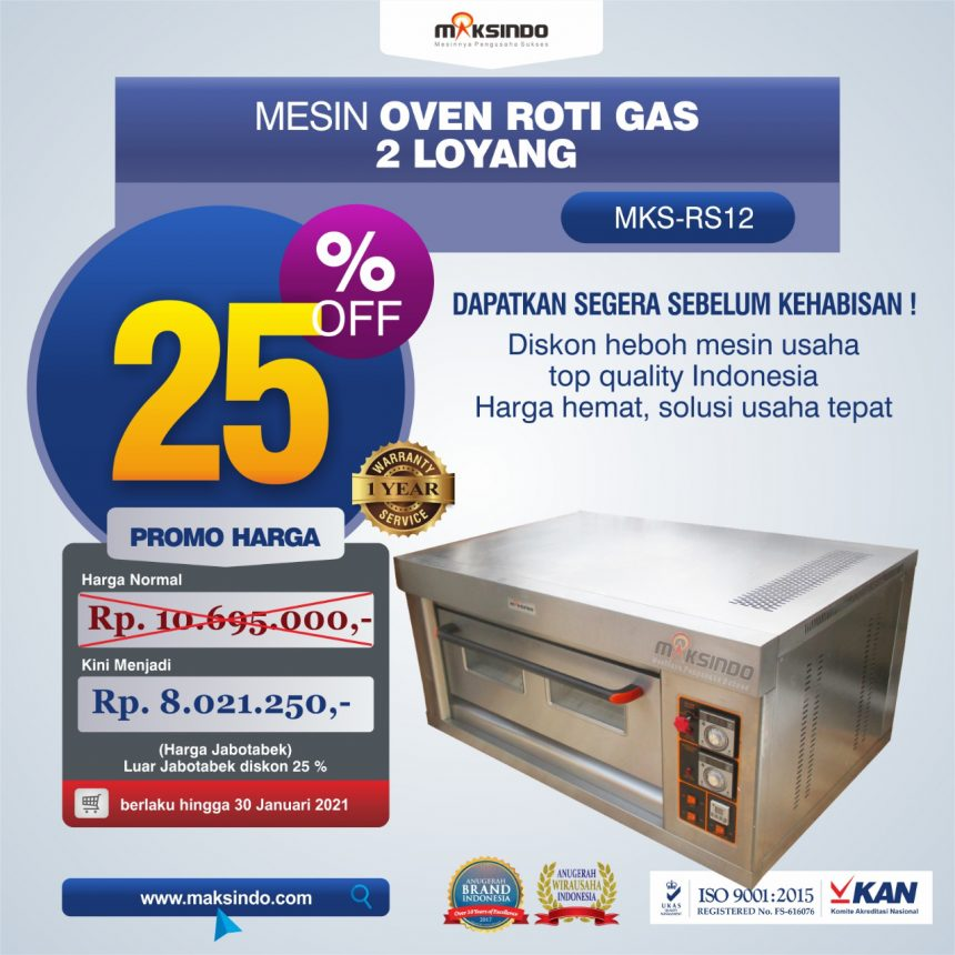 Jual Mesin Oven Roti Gas 2 Loyang (MKS-RS12) di Bali