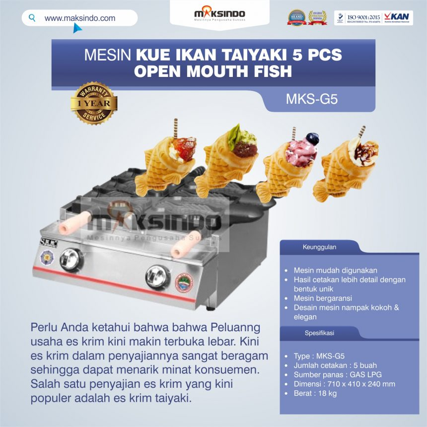 Jual Mesin Kue Ikan Taiyaki 5 Pcs – Open Mouth Fish di Bali