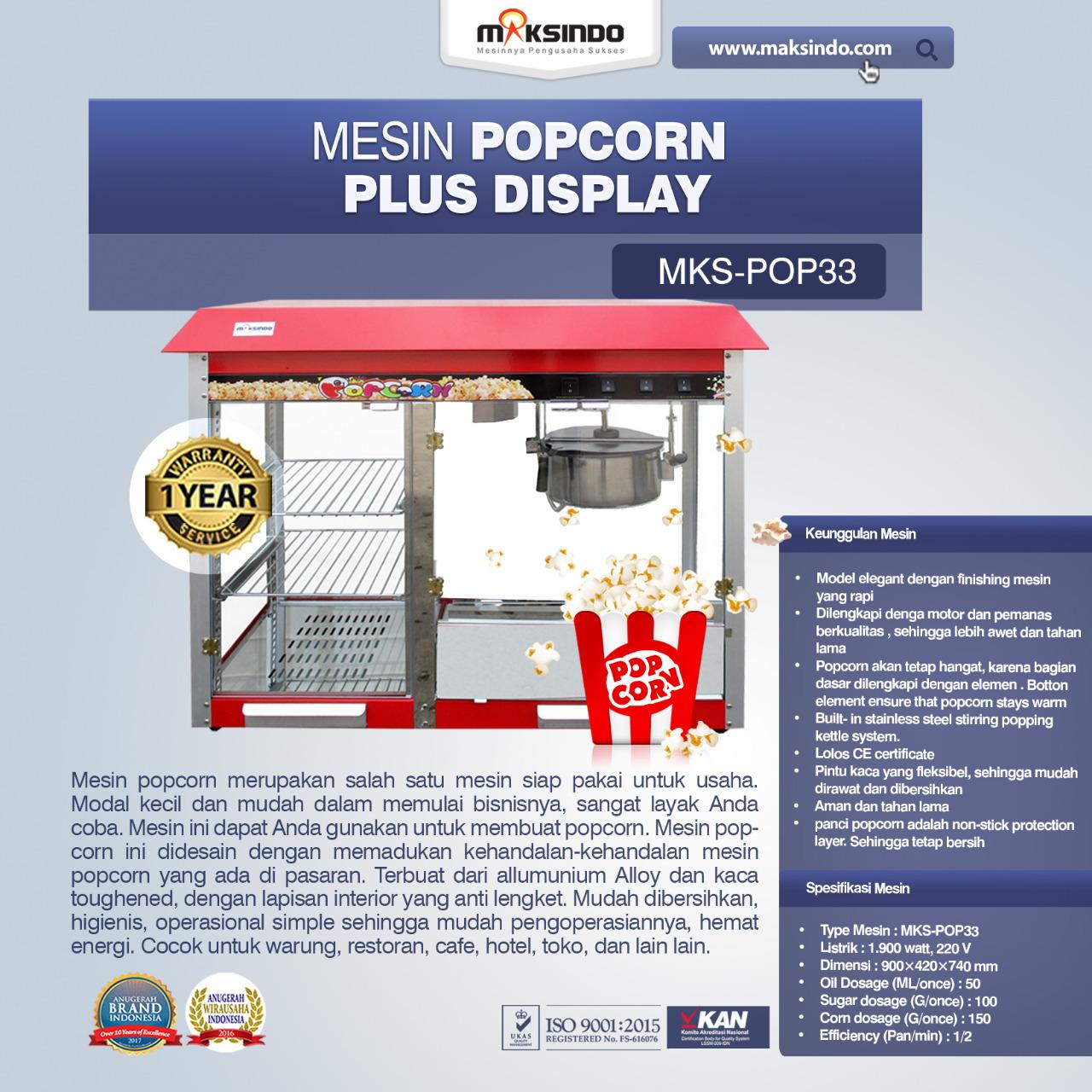 Jual Mesin Popcorn Plus Display (POP33) di Bali