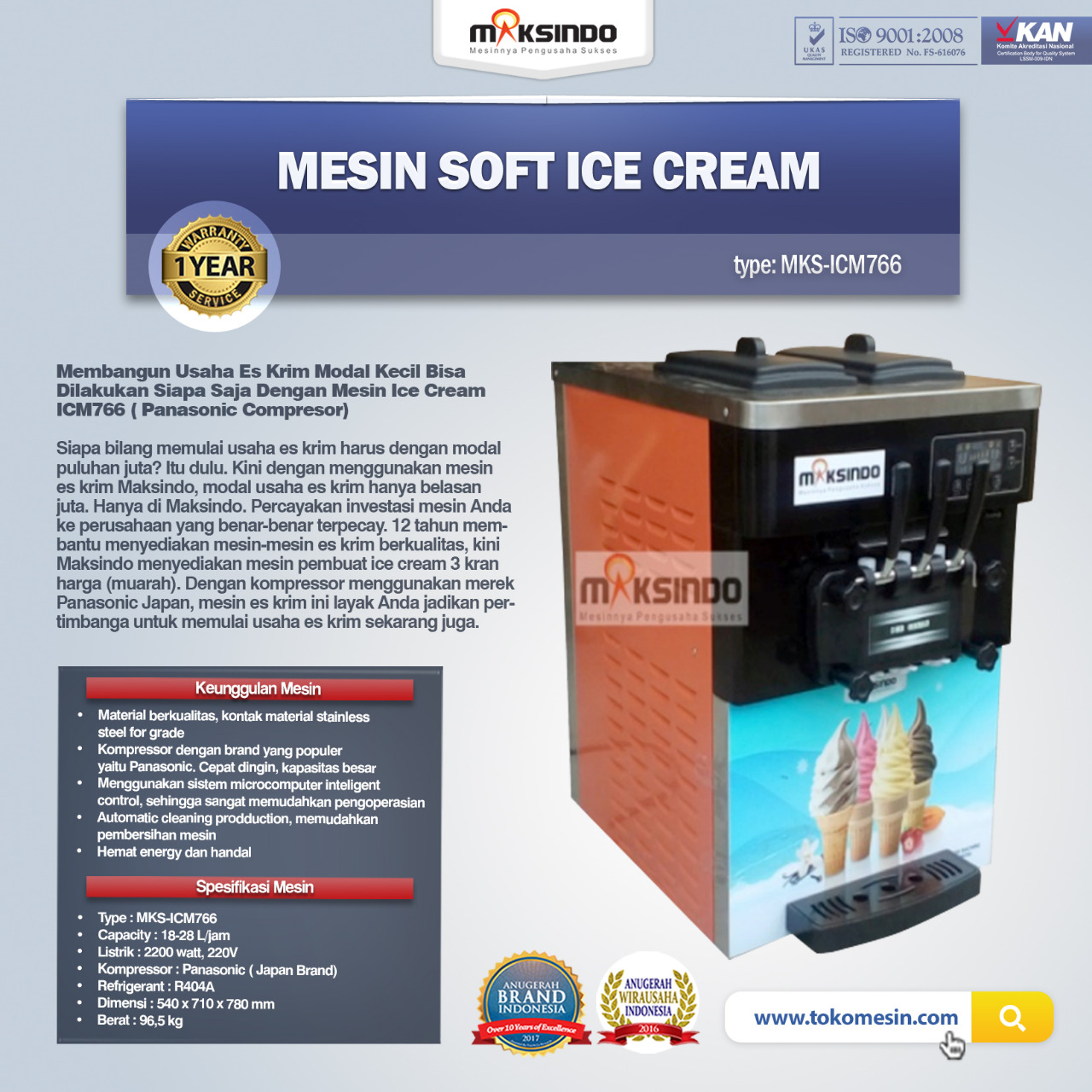 Jual Mesin Soft Ice Cream ICM766 (Panasonic Comp) di Bali