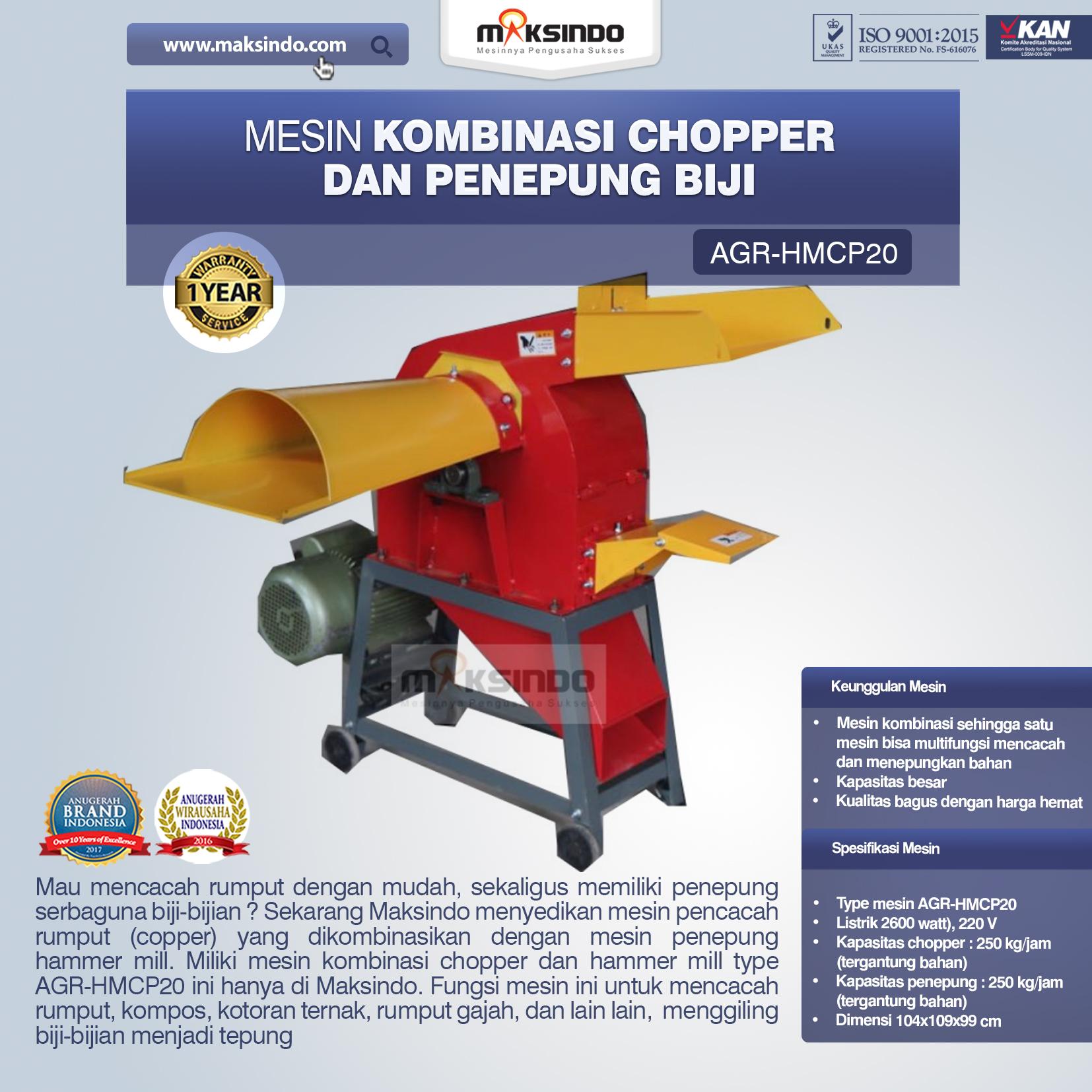 Jual Mesin Kombinasi Chopper dan Penepung Biji (HMCP20) di Bali