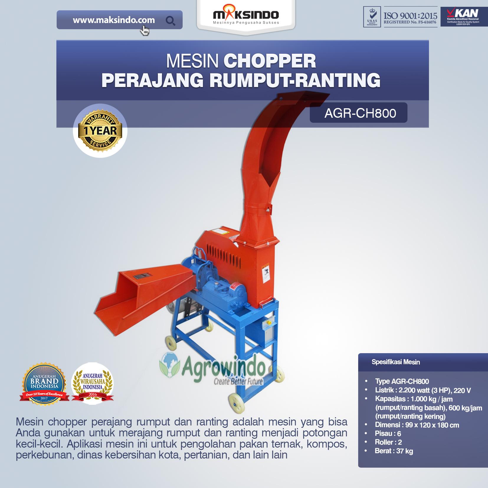 Jual Mesin Chopper Perajang Rumput-Ranting AGR-CH800 di Bali