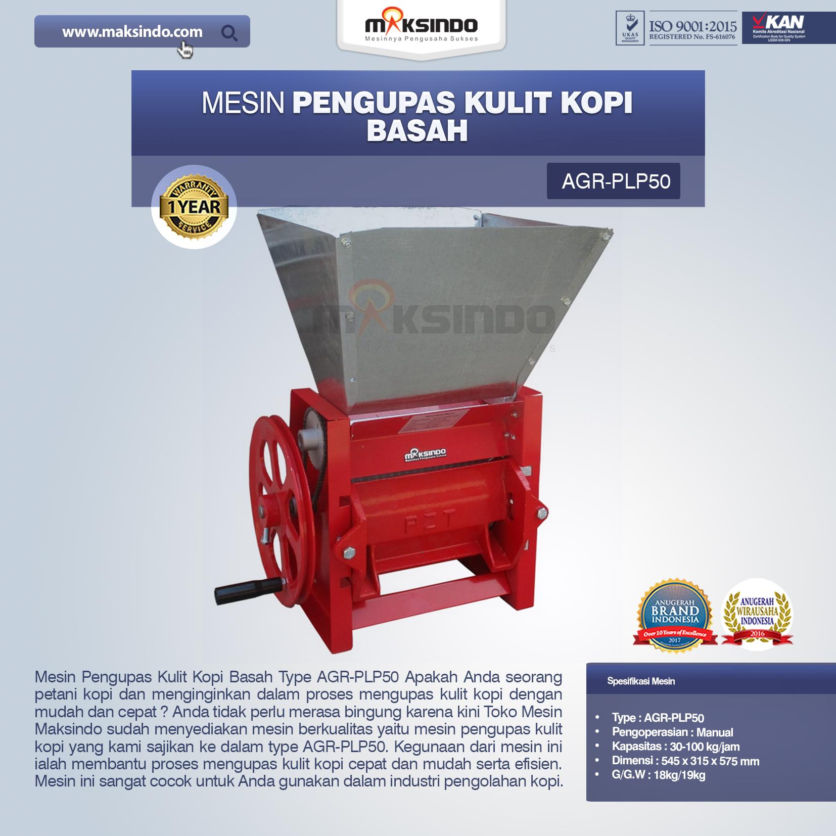 Jual Mesin Pengupas Kulit Kopi Basah Type AGR-PLP50 di Bali