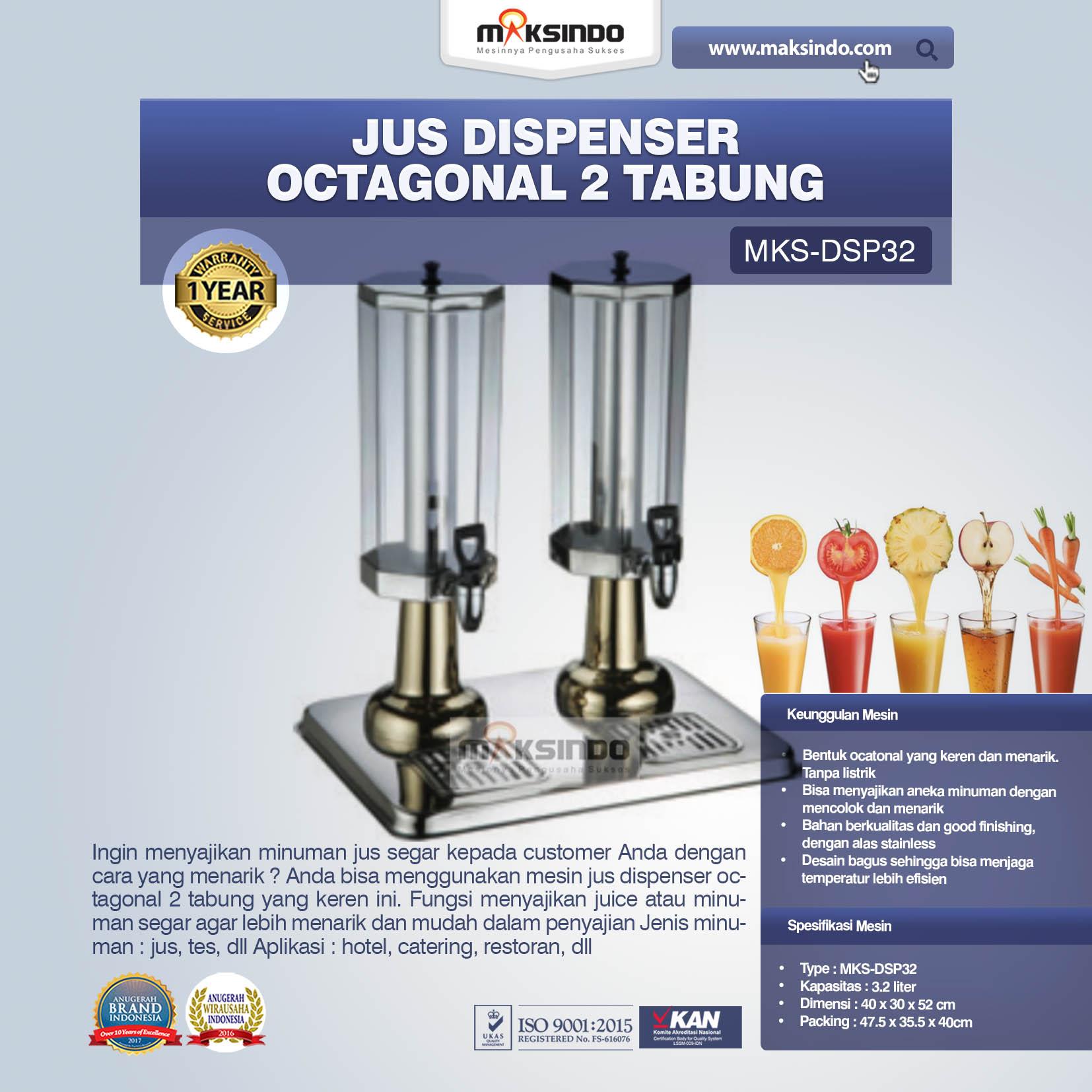 Jual Jus Dispenser Octagonal 2 Tabung (DSP32) di Bali