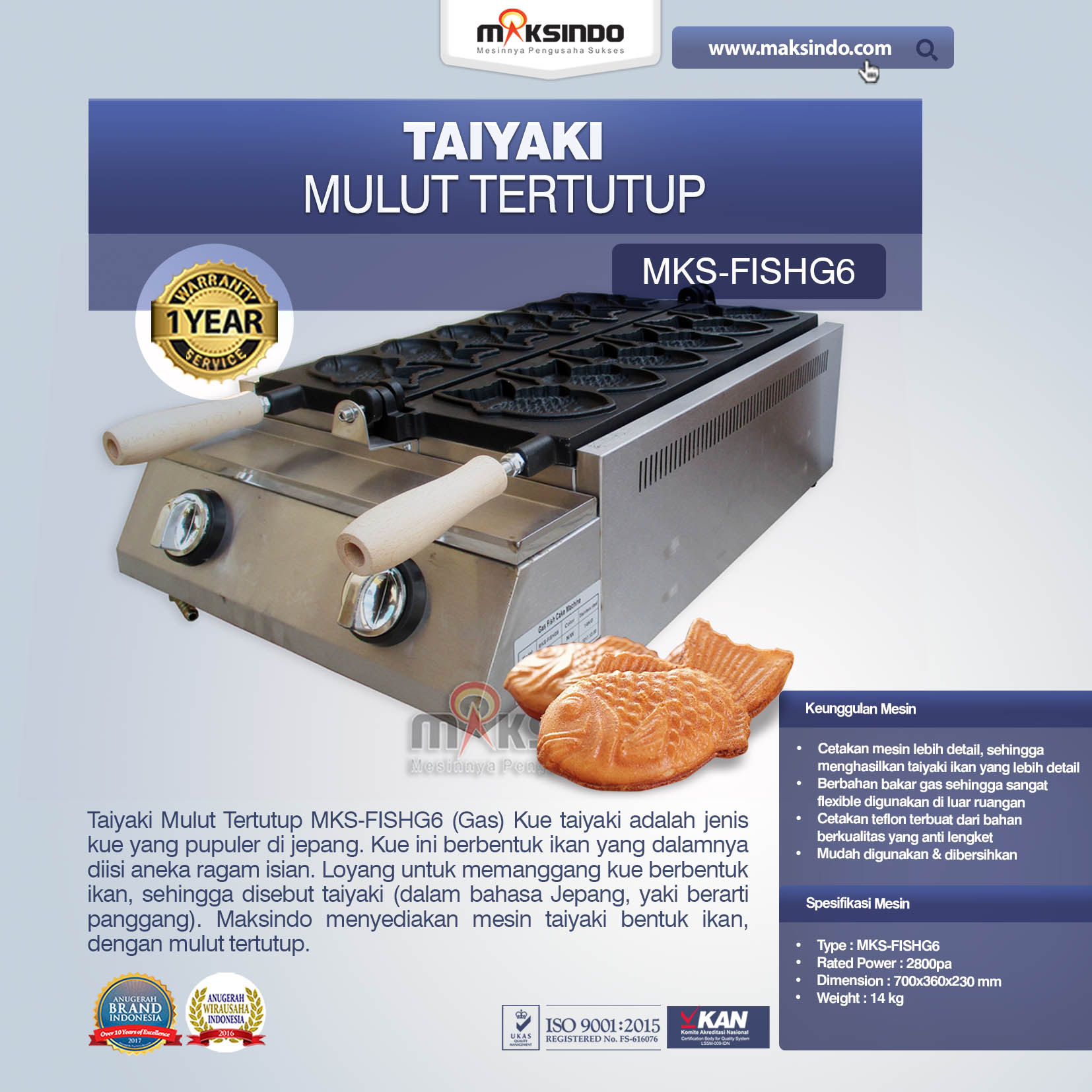 Jual Taiyaki Mulut Tertutup (Gas) MKS-FISHG6 di Bali