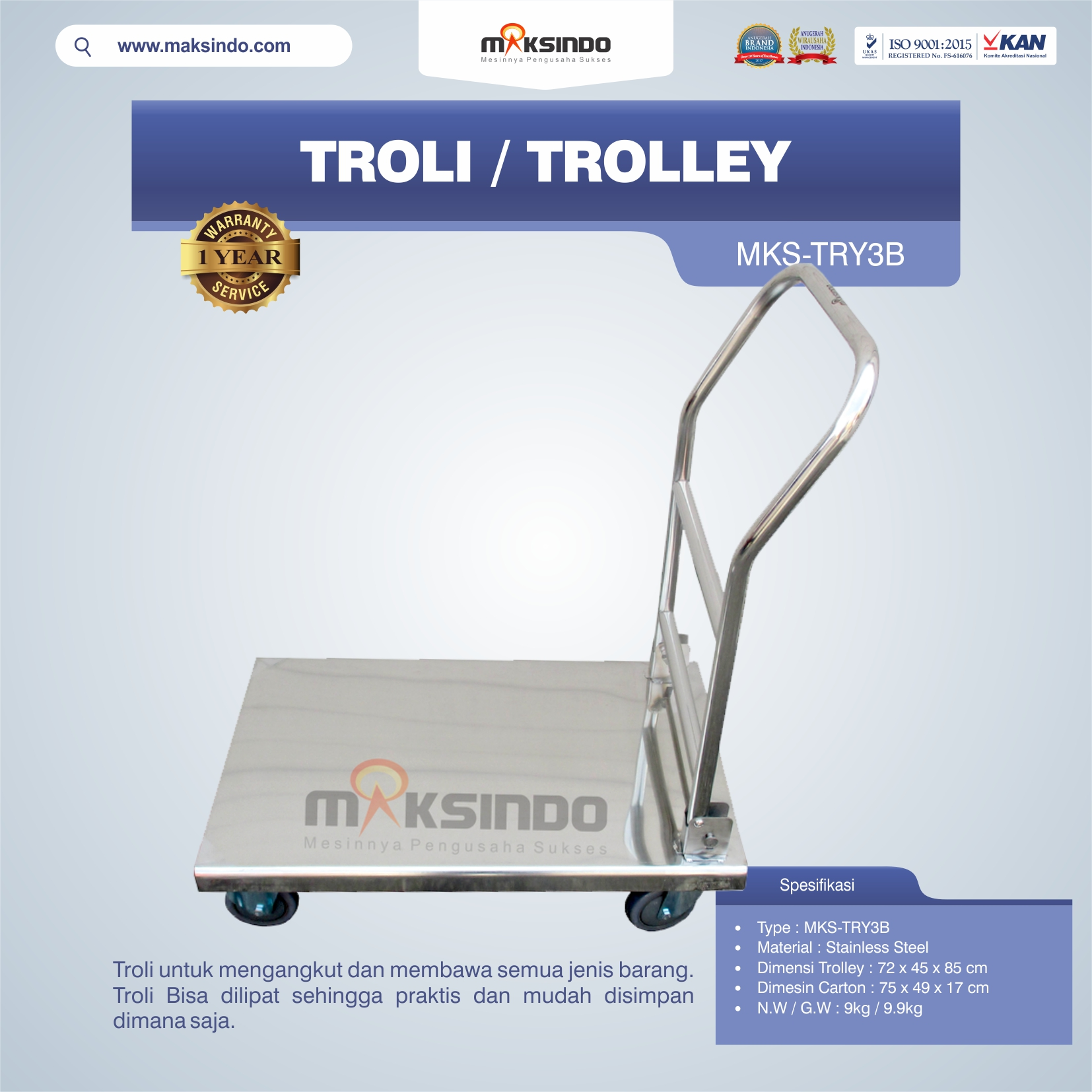 Jual Troli/Trolley MKS-TRY3B di Bali