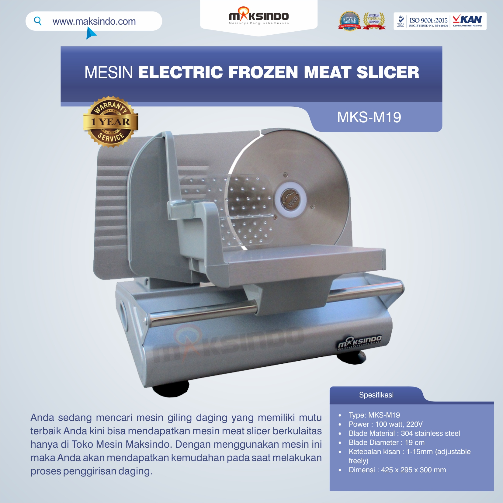 Jual MesinElectric Frozen Meat SlicerMKS-M19 di Bali