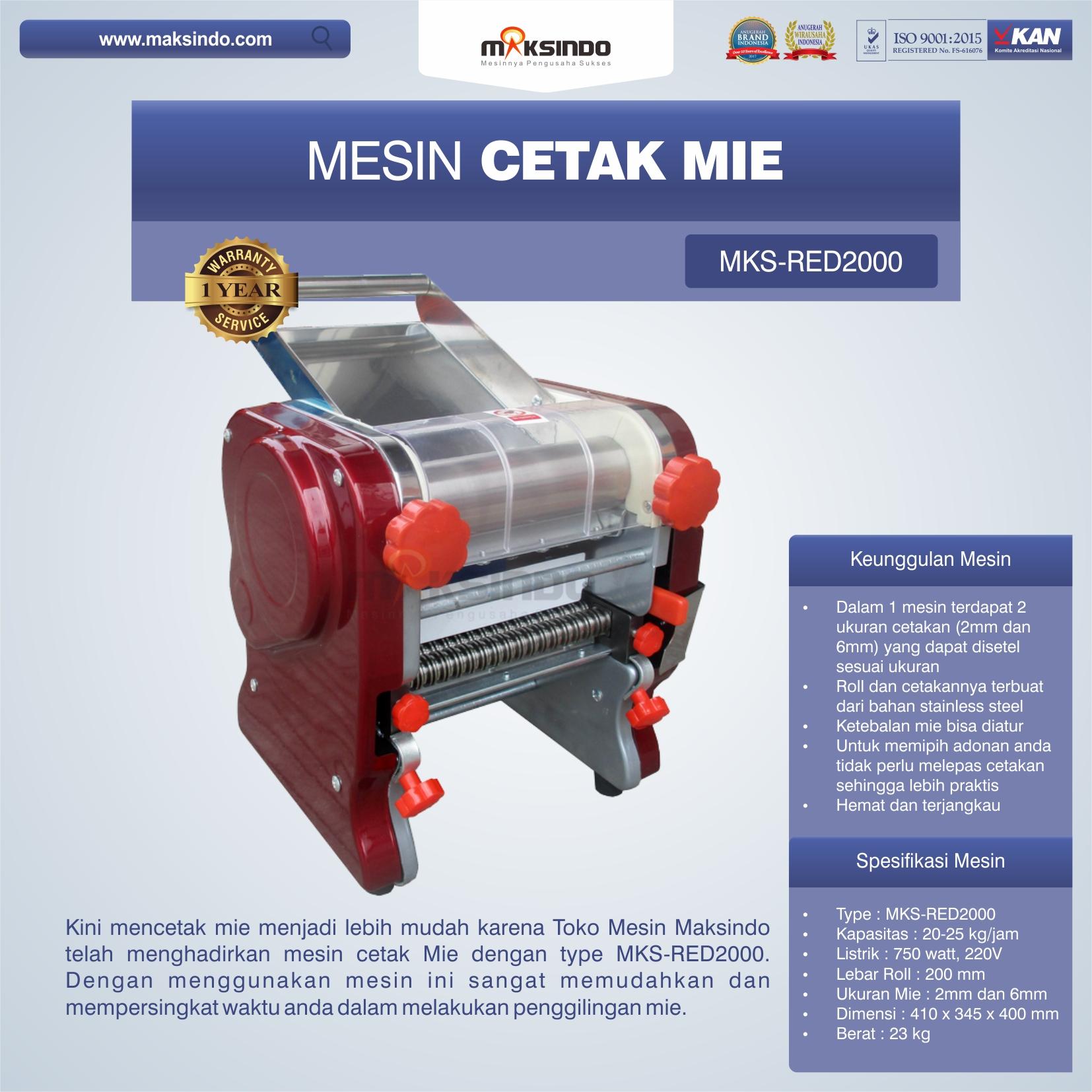 Jual Mesin Cetak Mie MKS-RED2000 di Bali