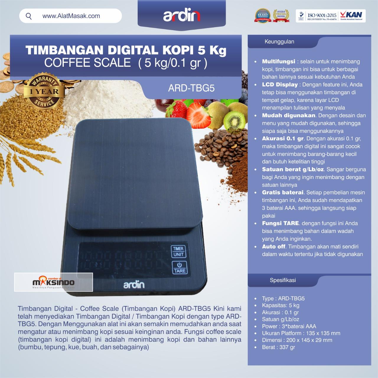 Jual Timbangan Digital Kopi 5 kg ARD-TBG5 (coffee scale) di Bali