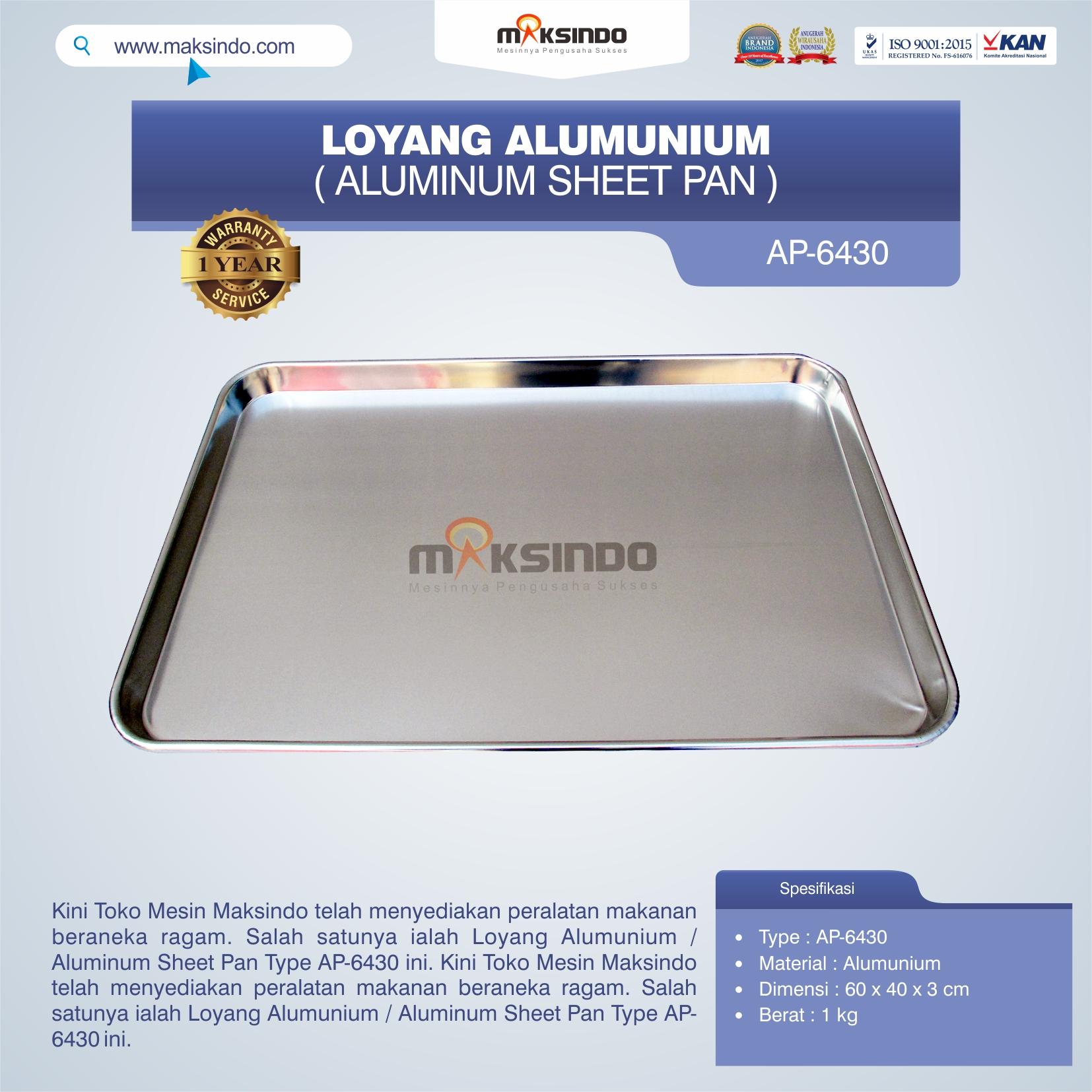 Jual Loyang Alumunium / Aluminum Sheet Pan Type AP-6430 di Bali