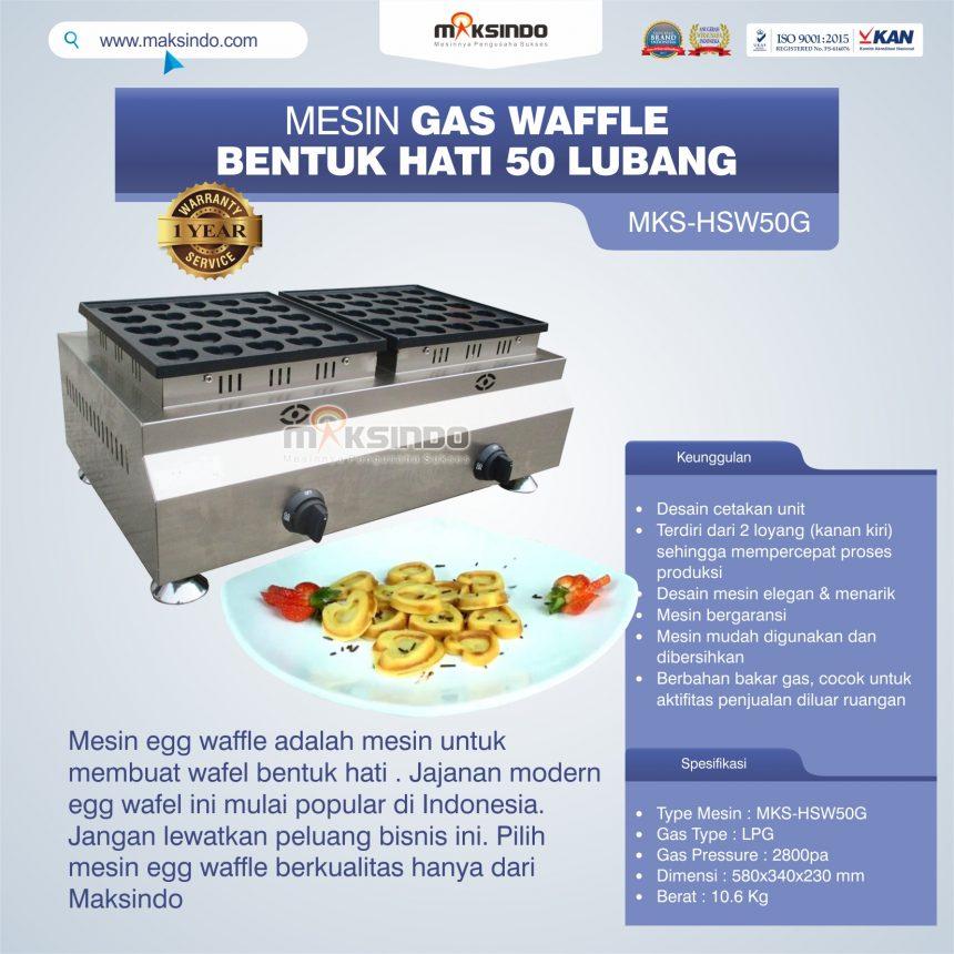 Jual Mesin Waffle Gas Bentuk Hati 50 Lubang MKS-HSW50G di Bali